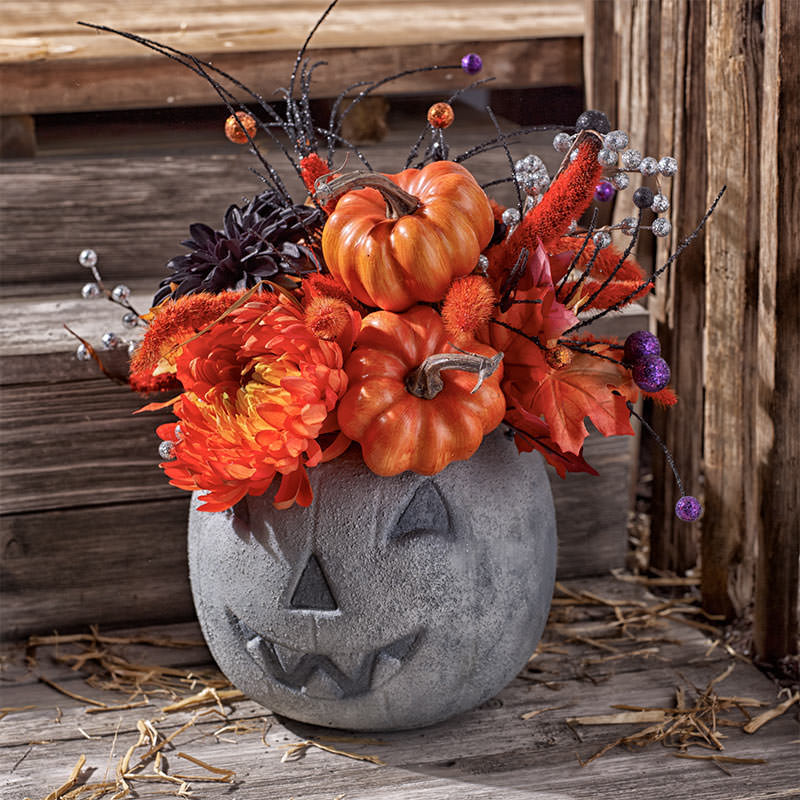 Concrete Pumpkin Centerpiece