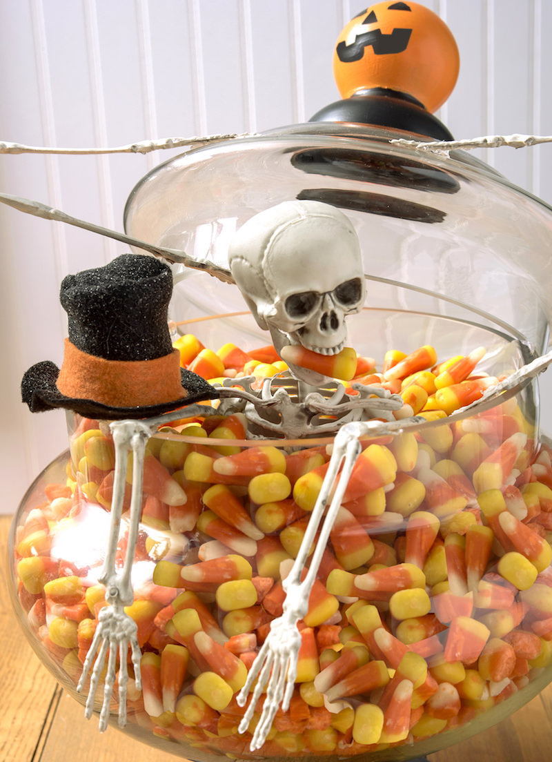DIY Halloween Decor with a skeleton and candy corn