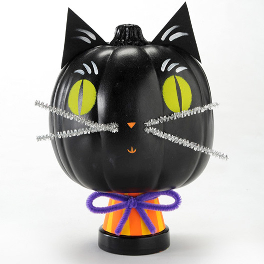 FolkArt Black Cat Pumpkin