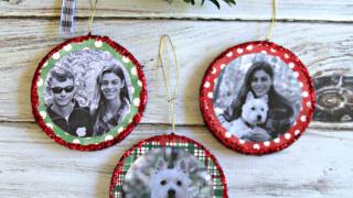 Mod Podge Glitter Photo Ornaments