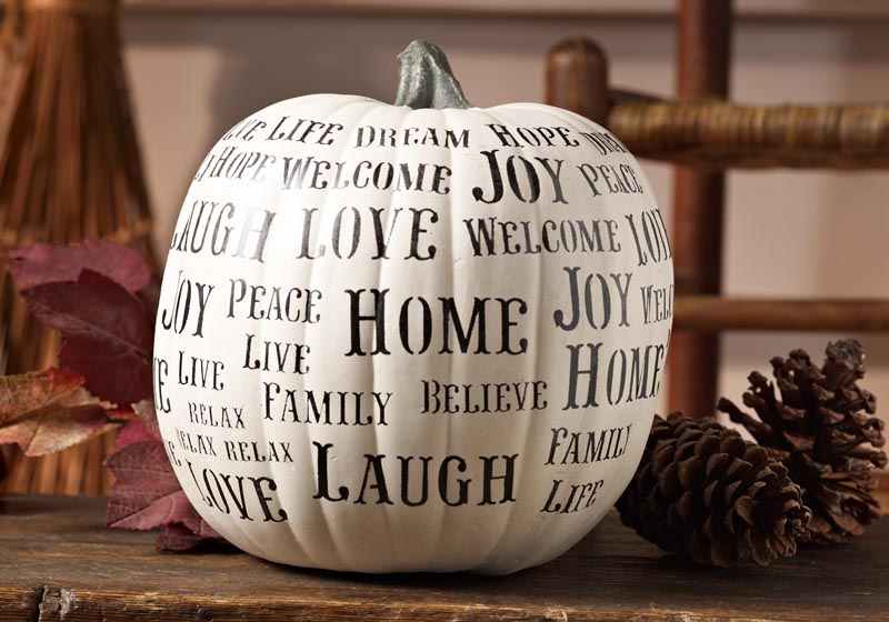Stenciled Happy Words Pumpkin Decor