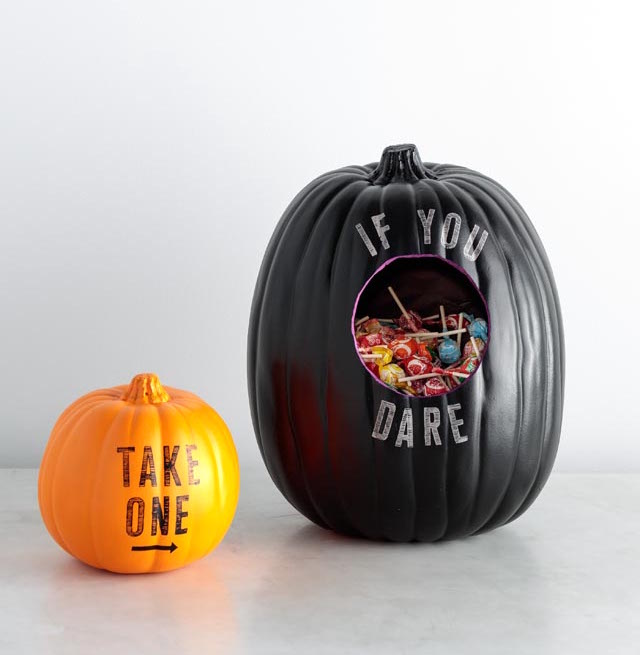 Stenciled Pumpkin Candy Holder