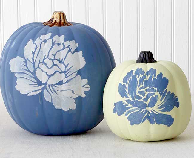 pumpkin painting ideas - Vintage Floral Pumpkins