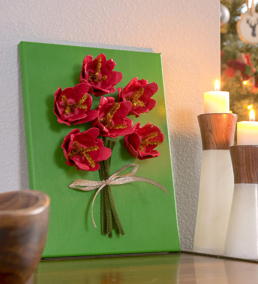 Poinsettia Canvas Christmas Craft For Kids Mod Podge Rocks