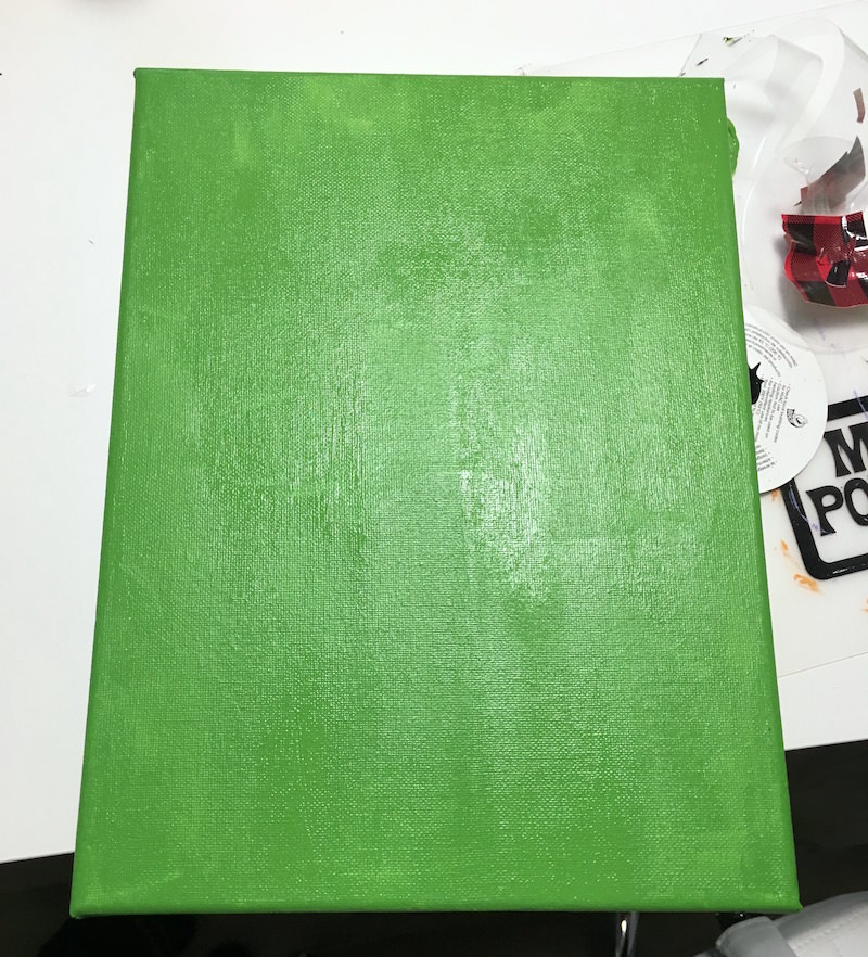 Green painted canvas