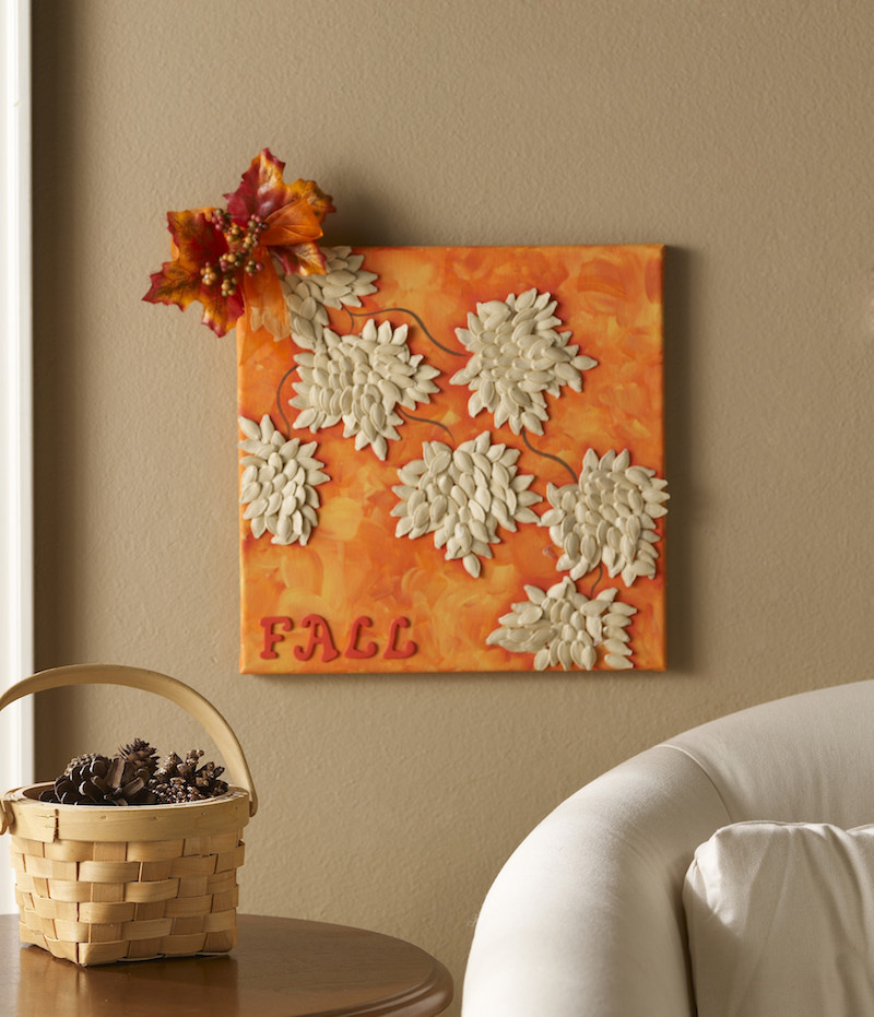 DIY Fall Canvas with Pumpkin Seeds