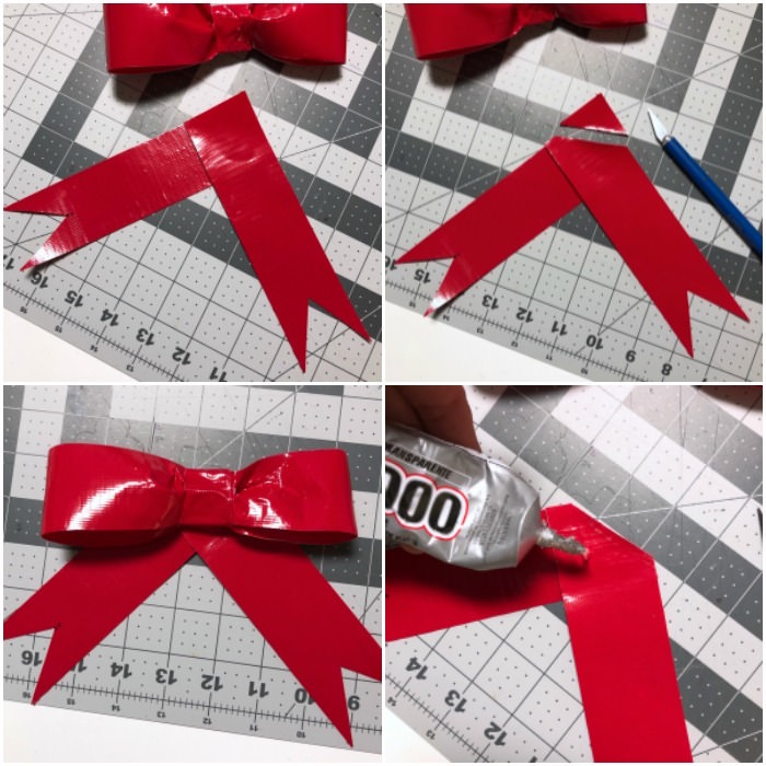 Glue the bow onto the base