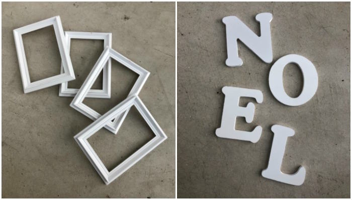 four white frames and NOEL letters