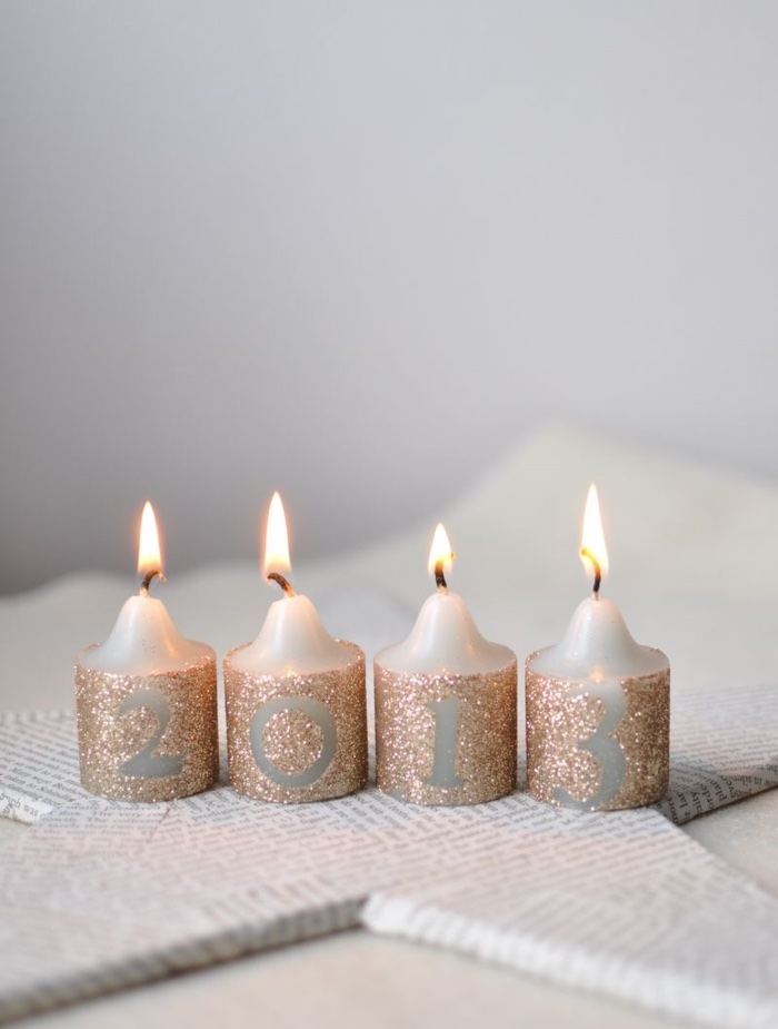 Decoupage candles with Mod Podge and glitter