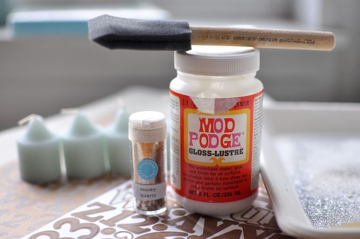 Mod Podge adhesive letters glitter and a paintbrush