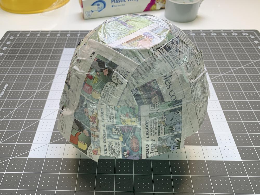 Mod Podge paper mache bowl drying