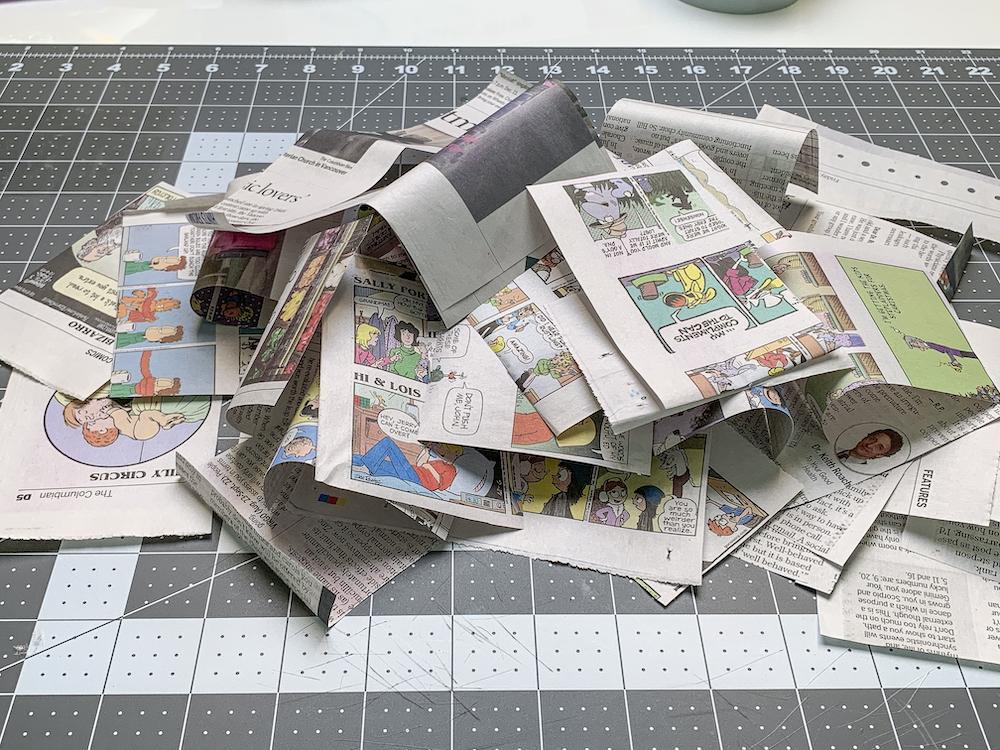 Pile of torn newspaper