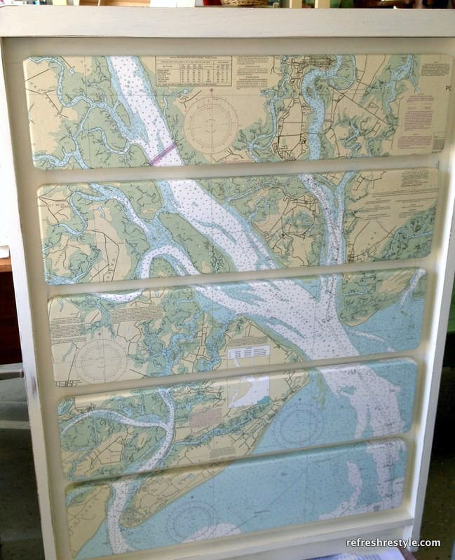 DIY dresser covered with map