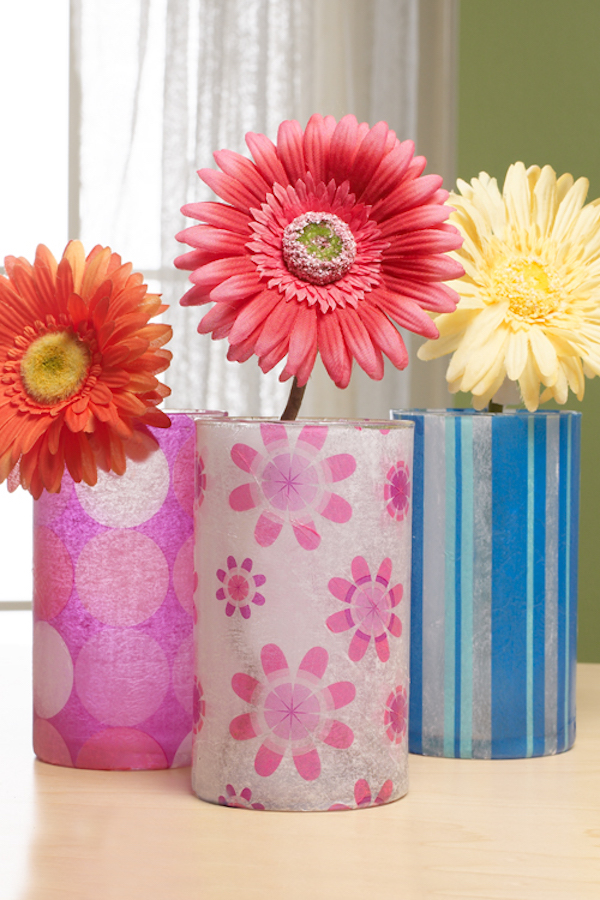 Decoupage Glasses Vases for Spring