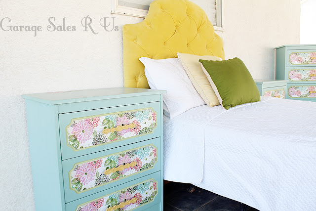 Floral paper covered dresser with Mod Podge