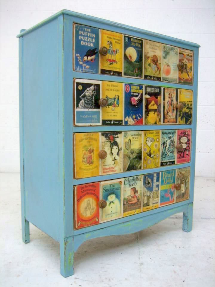 Mod Podge DIY dresser with book covers