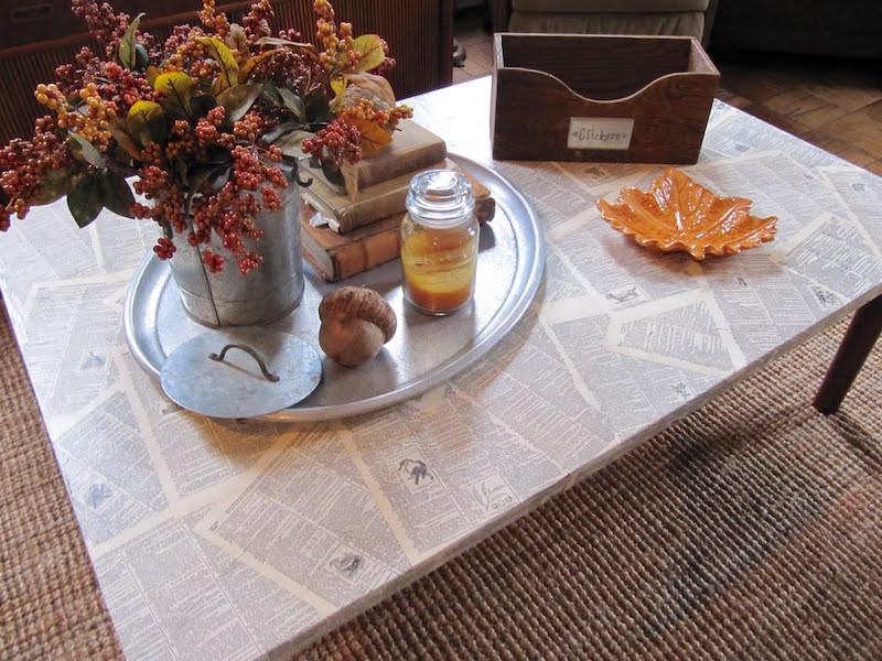 Mod Podge book page coffee table