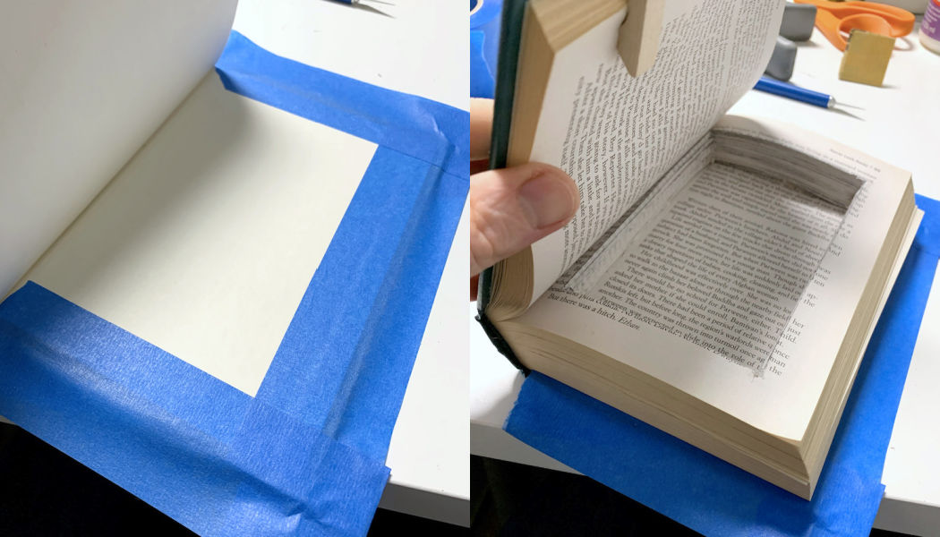 Securing the back cover of the book to prevent seepage