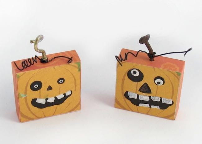 DIY Halloween magnets that look like pumpkins