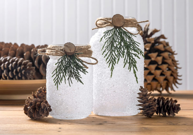Christmas luminaries sitting in front of pinecones