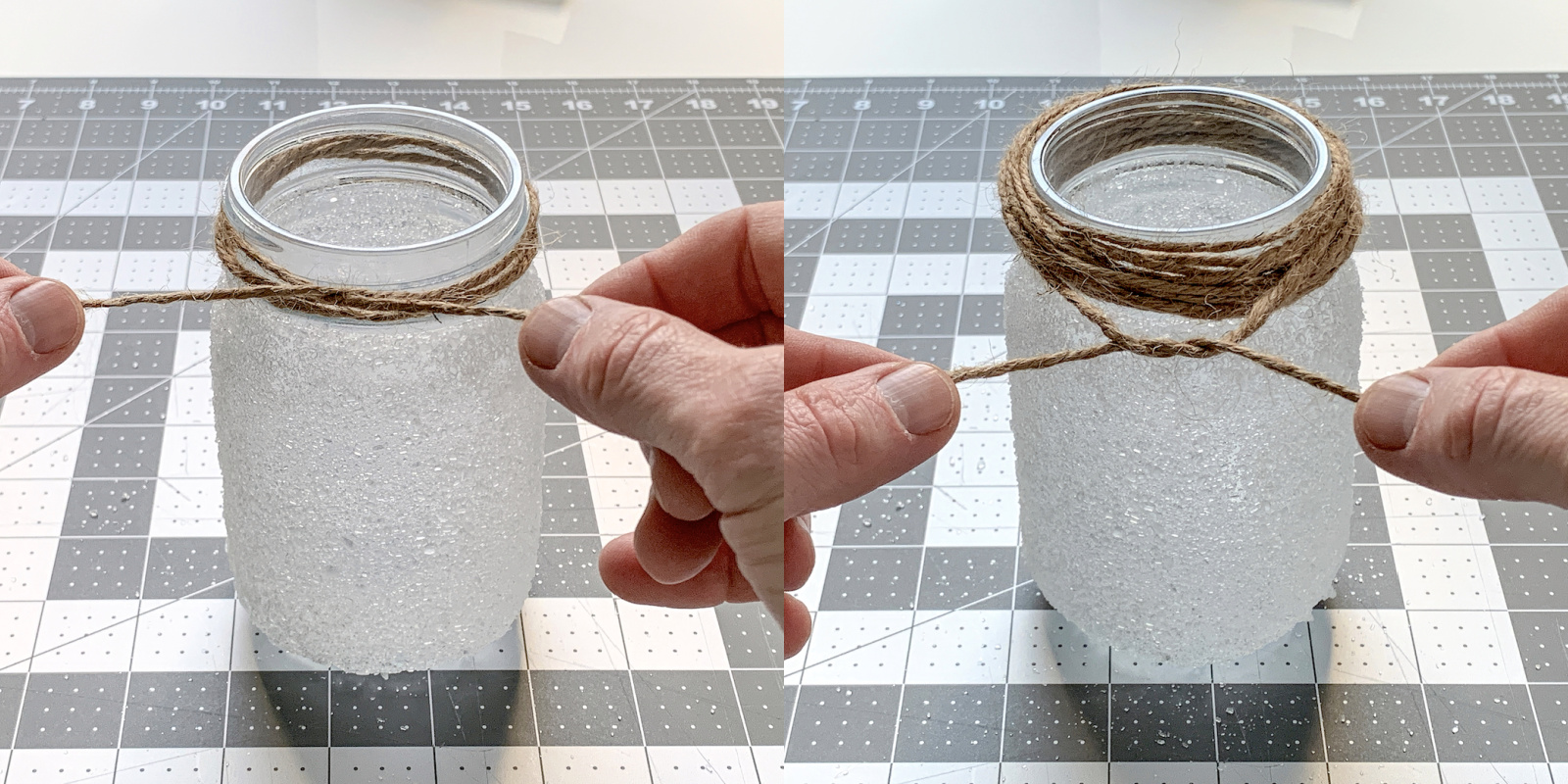 Amarrar barbante em volta da borda do frasco de pedreiro