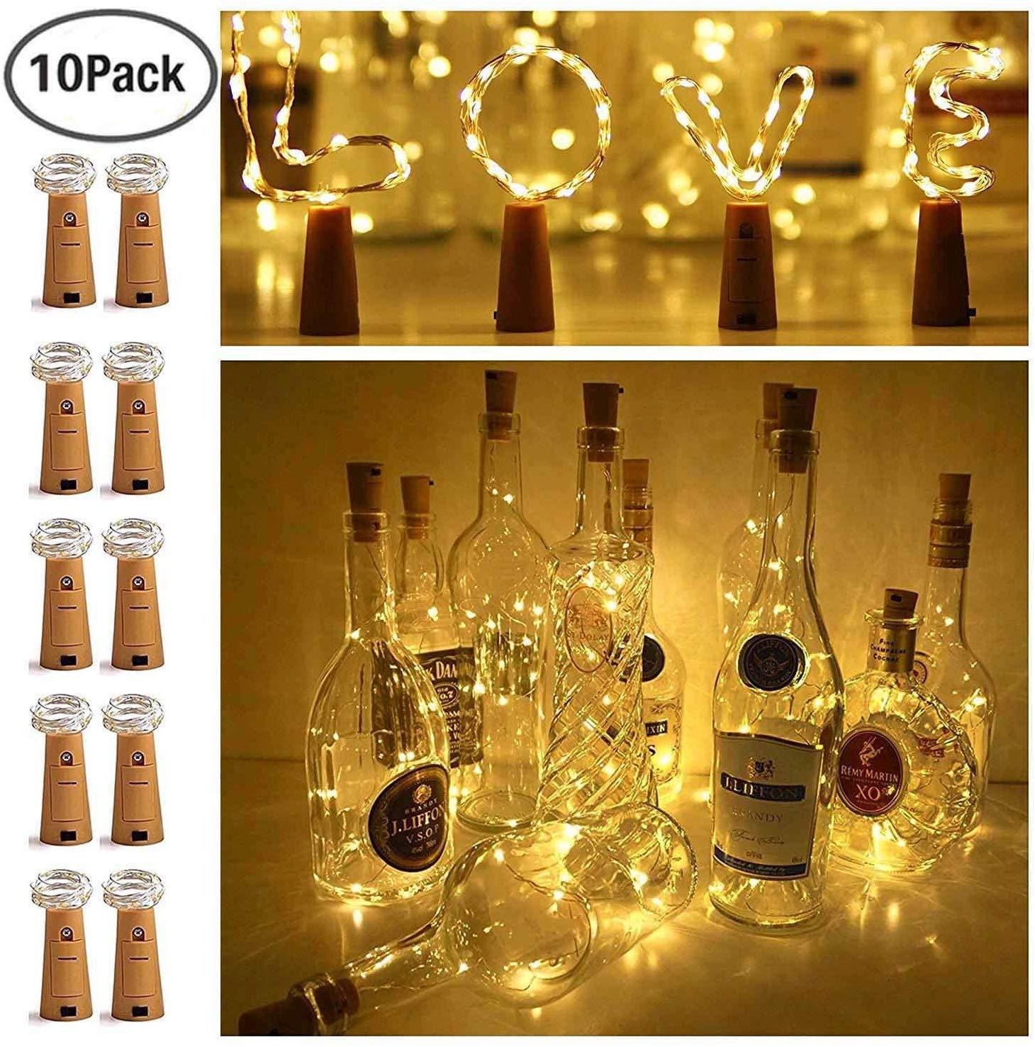 Wine bottle stopper lights