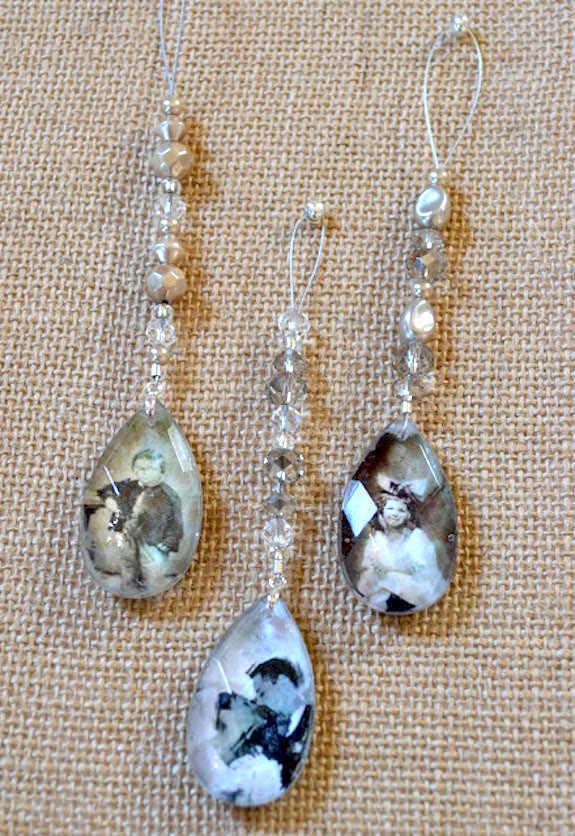 crystal beaded photo ornaments