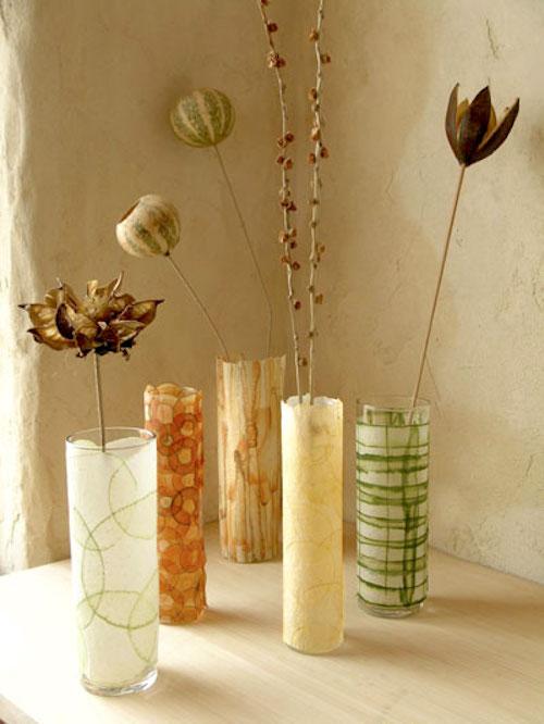Mod Podge on a glass vase