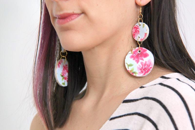 Woman wearing Mod Podge earrings