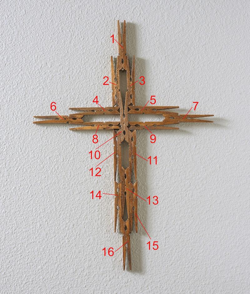Clothespin cross diagram