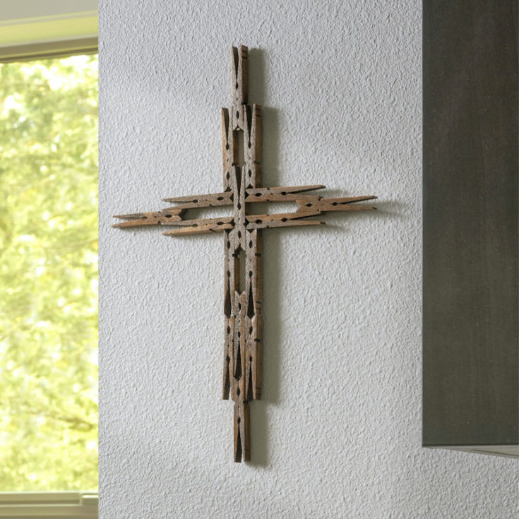 DIY clothespin cross