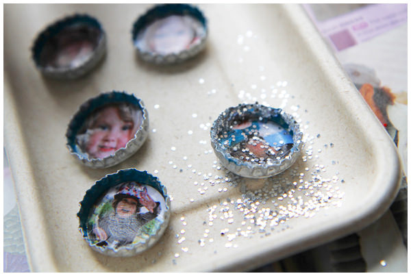Sprinkle the magnets with glitter