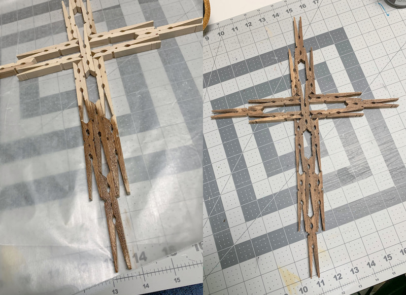 Staining-a-clothespin-cross-with-acrylic-paint