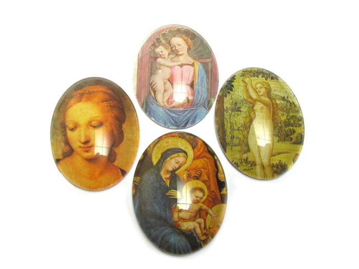 Four Renaissance images with glass cabochons on top