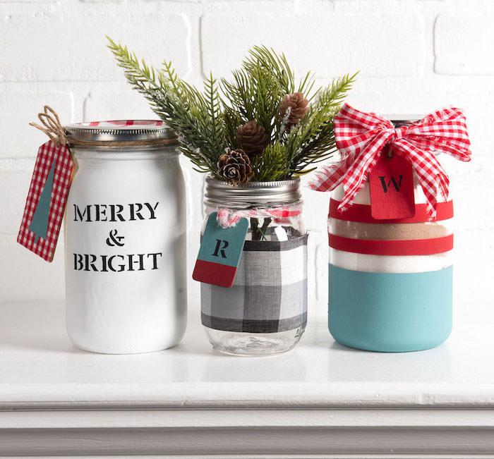 Painted Christmas mason jars