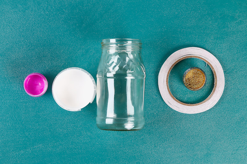 Supplies to paint mason jars