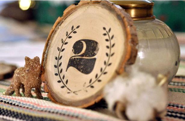 DIY vintage wood table numbers for wedding