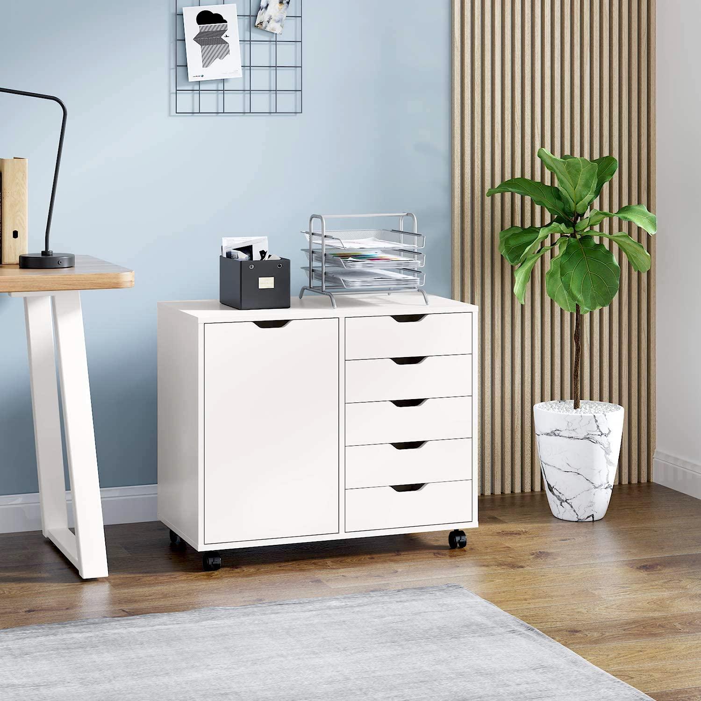 5-Drawer Wood Dresser Chest with Door, Mobile Storage Cabinet