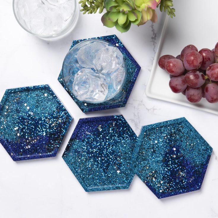 Blue glitter resin coasters