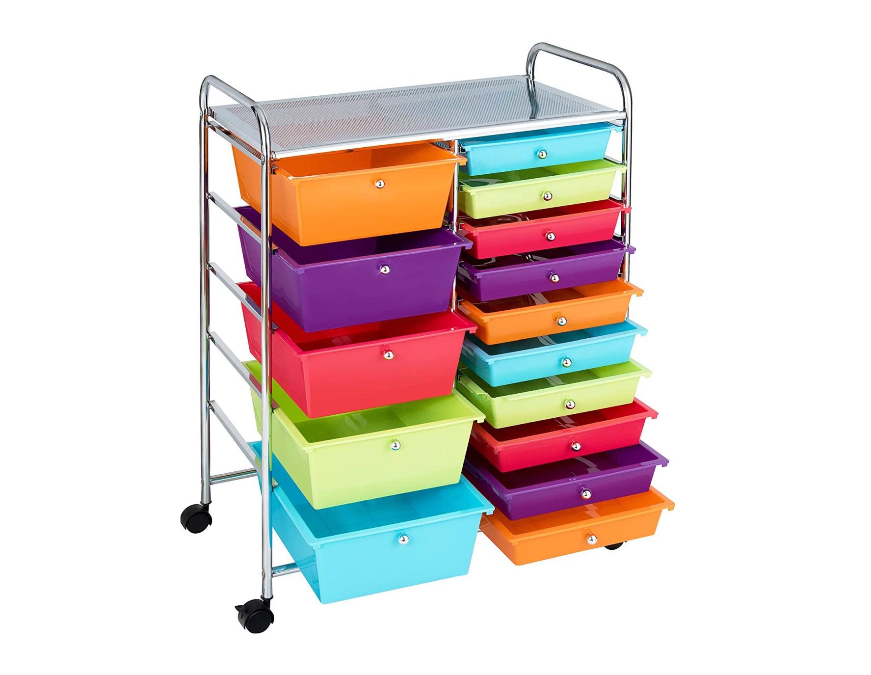 Giantex 15-Drawer Organizer Cart Office School Storage Cart Rolling Drawer Cart