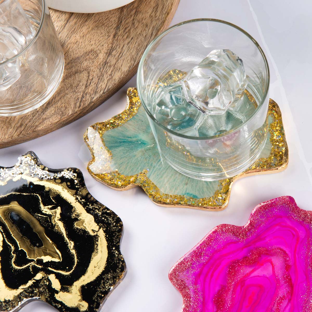 Colorful geode coasters
