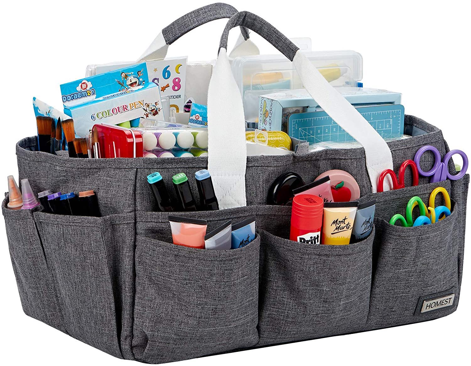 Craft Organizer Tote Bag with Multiple Pockets