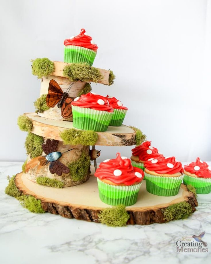 DIY Woodland Rustic Cupcake Stand