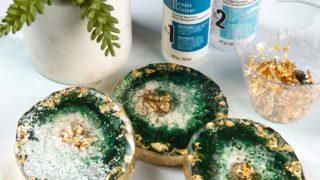 Green Geode Resin Coasters