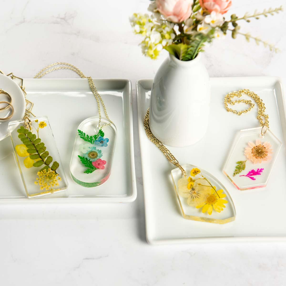 Mod Podge resin necklace pendants