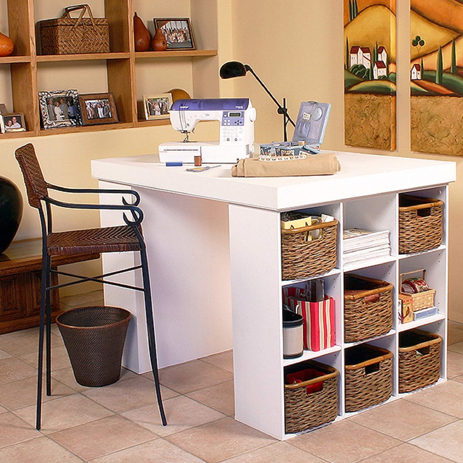 Project Center Desk with 2 Bookcase Sides
