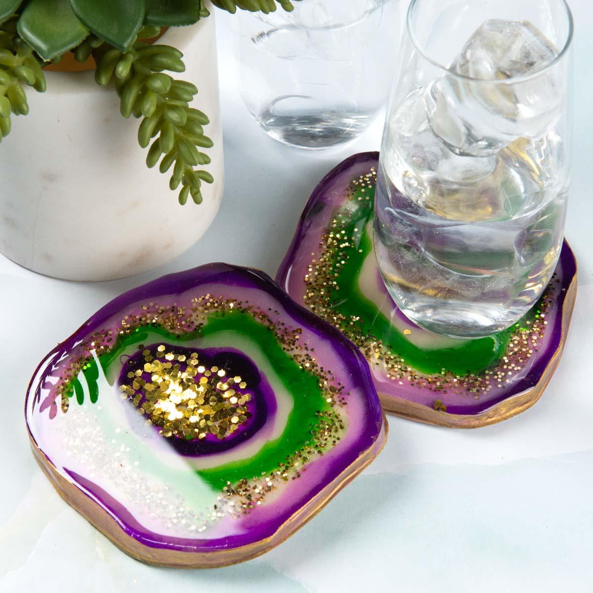 Purple geode coasters