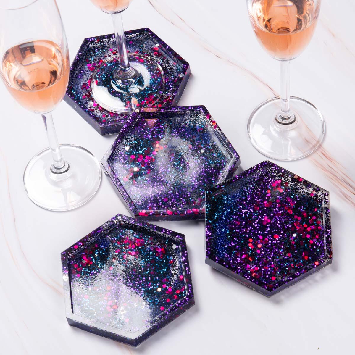 Purple glitter galaxy resin coasters