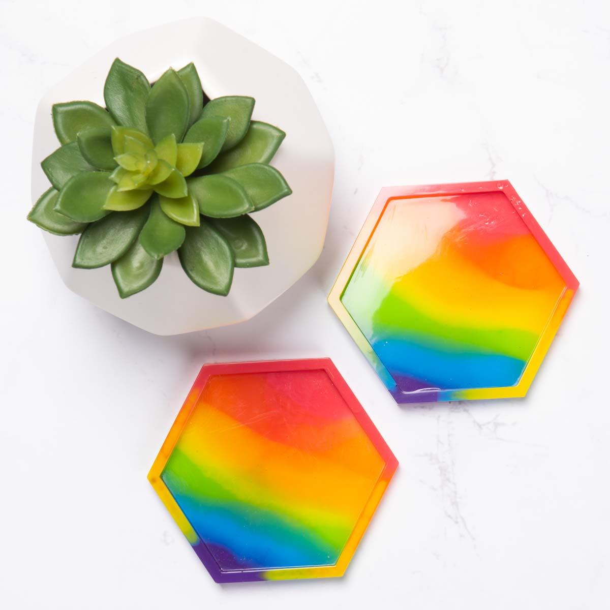 Rainbow resin coasters