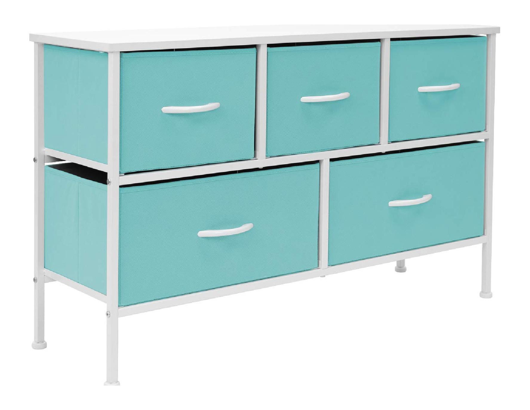 Storage dresser with fabric bins